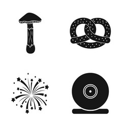 Mushrooms carrot and other web icon in black vector