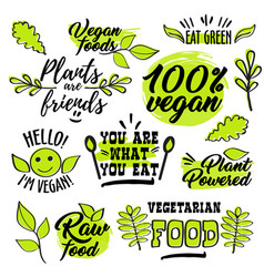 organic and vegan logo labels vector image vector image