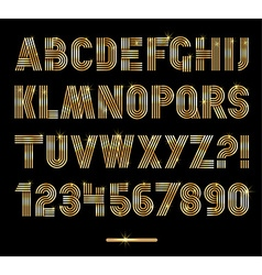 Retro stripes gold fonts settrendy elegant retro vector