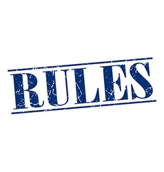 rules blue grunge vintage stamp isolated on white vector image vector image