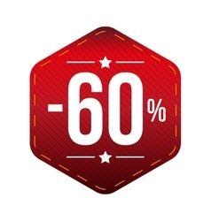 Sale sixty percent off banner red patch vector image vector image