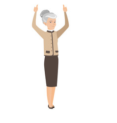 Senior business woman standing with raised arms up vector