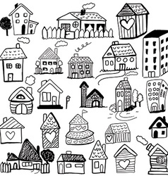 Set of doodled houses vector