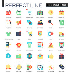 set of flat e-commerce icons internet vector image vector image
