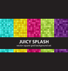 Square pattern set juicy splash seamless vector