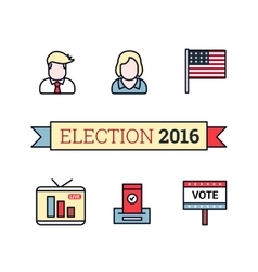 Thin line art icons set american election 2016 vector