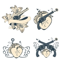 Vintage style emblems with human hearts flowers vector
