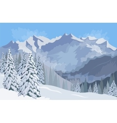 Winter mountain landscapecoffee mug on the vector image