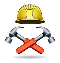 Working tools two hammers and helmet vector
