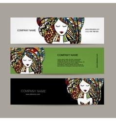 Banners design zenart female portrait vector image