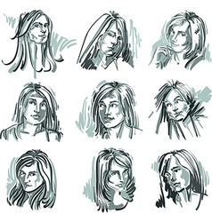 Set of monochrome art portraits of females drawn vector