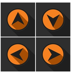 Four orange round - black arrows with shadows vector