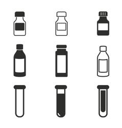 Medicine bottle icon set vector