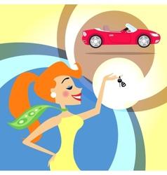 Woman with car keys vector