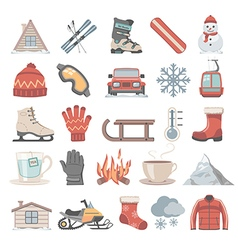 Flat icons winter vector