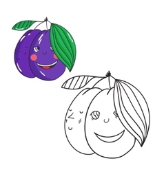 Educational game coloring book plum fruit vector