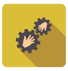 Gears contact flat rounded square icon with long vector