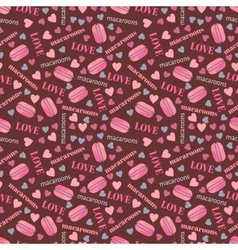Seamless pattern with tasty macaroons hearts and vector