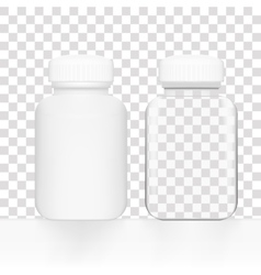 Blank white and glass medicine bottle vector