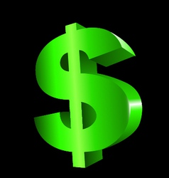 Green Dollar in 3d vector image