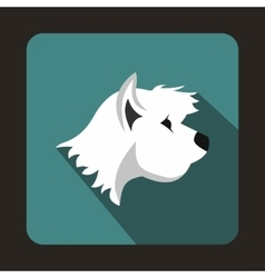 White terrier dog icon flat style vector
