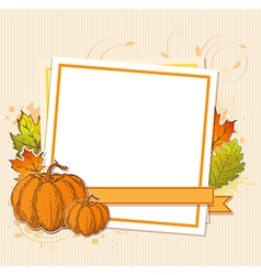 Autumn frame with pumpkins vector
