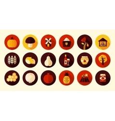 Autumn harvest thanksgiving flat icon vector