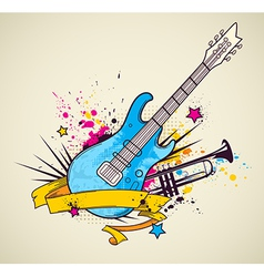 background with electric guitar and trumpet vector image