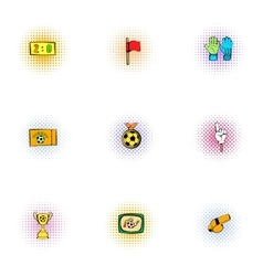 Ball game icons set pop-art style vector