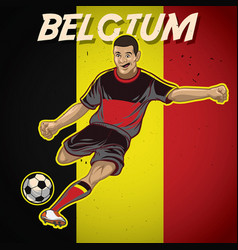 Belgium soccer player with flag background vector