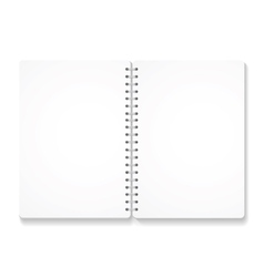 blank realistic spiral notebook with opened pages vector image vector image
