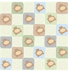 childish seamless pattern with teddy bear vector image