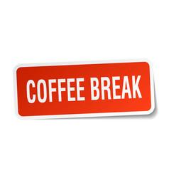 Coffee break square sticker on white vector