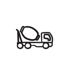 Concrete mixer truck sketch icon vector