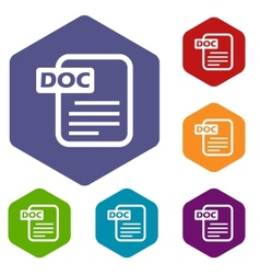 Doc rhombus icons vector image vector image
