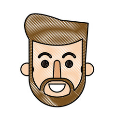 Drawing face bearded man hipster cartoon vector