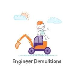 Engineer demolitions sits on the excavator vector