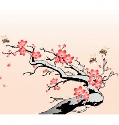 flowering cherry branch vector image vector image