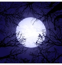 Halloween trees and moon vector