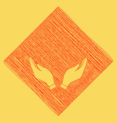 Hand icon prayer symbol red vector