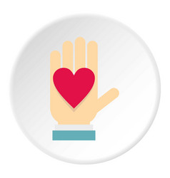 Hand with heart icon circle vector
