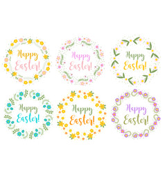 Happy easter set floral frame for text isolated vector