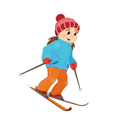 happy funny girl skiing downhill winter sport vector image vector image