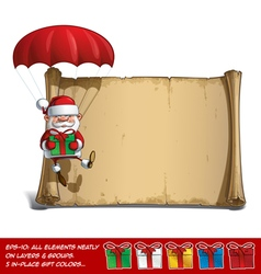 Happy santa scroll parachute holding a gifts vector