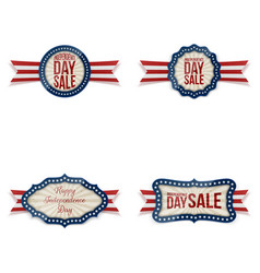 independence day realistic badges set vector image