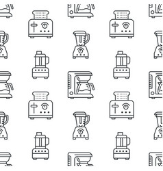 Kitchen utensil small appliances seamless pattern vector
