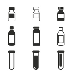 Medicine bottle icon set vector image vector image