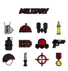 Military flat icons set vector image