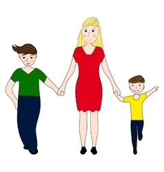 Mother holding the hand of his two sons vector image vector image