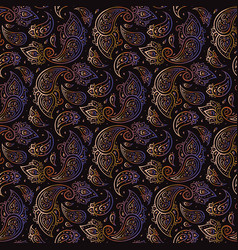 paisley beautiful golden seamless background vector image vector image